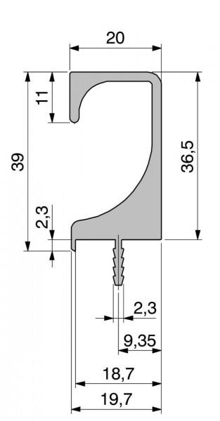 Griffleisten Typ A, Fixmaße und Lagerlänge, Aluminium EV1