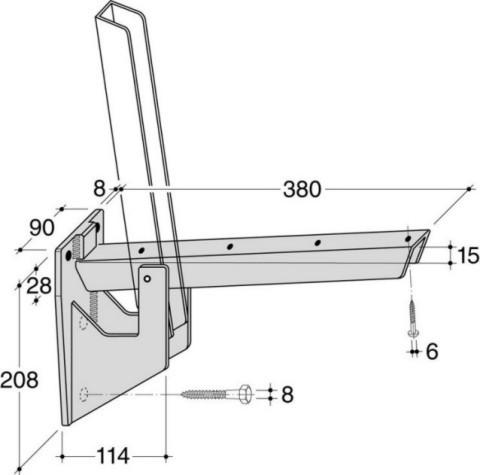 HEBGO Sitzbank-Klapp-Konsole BK 380 Stahl verzinkt Belastung 250kg