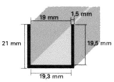 Trennwandprofile für 19mm Platten, EV1 eloxiert