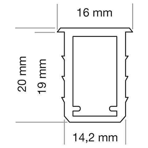 LED Nutprofil 14 x 20mm, Länge 2000mm