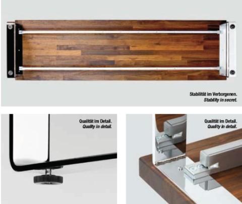 Quertraversen für Tische, Profile Silber beschichtet