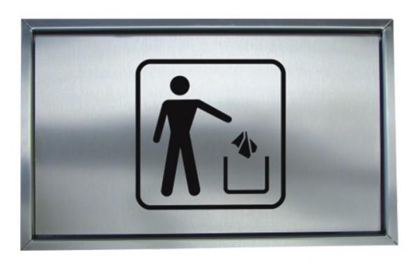 Müllklappe Edelstahl, mit Piktogramm