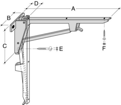 HEBGO Klapp-Konsole KL Stahl verzinkt 75kg