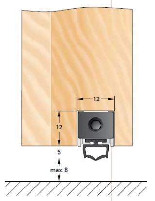 DBM 1212 MINI, automatische Bodentürdichtung