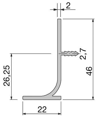 Griffmulden vertikal Typ C und L, Lagerlängen 2500mm