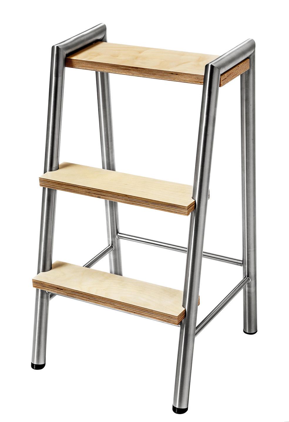trittleiter edelstahl mit stufen holz trittleiter k che bad bfb gmbh. Black Bedroom Furniture Sets. Home Design Ideas