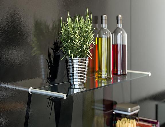 Komplettset Glasbodenträger mit Glasplatten 8mm, Wandmontage