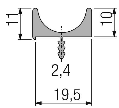 Griffleisten Typ D-F, Lagerlängen 2500mm, Aluminium EV1