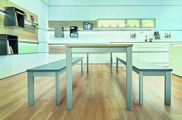 Tischgestell Frame, Aluminium Edelstahl Optik