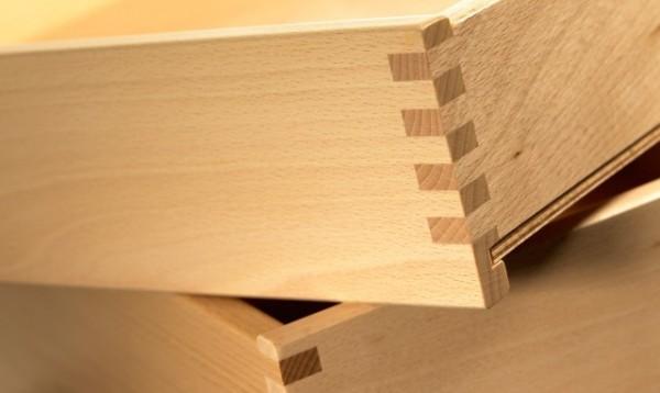 Holzschubladen Buche hell fingergezinkt auf Maß