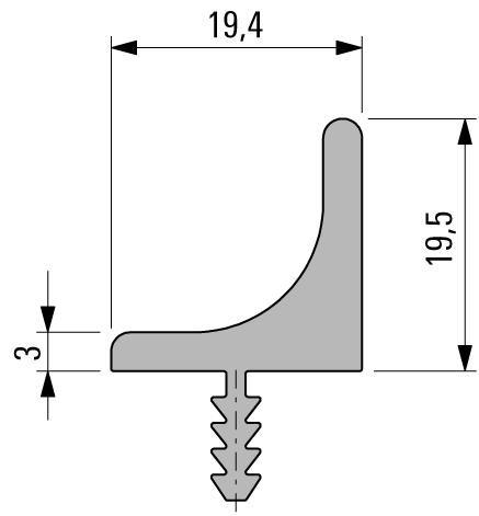 Griffleistenprofil horizontal Lagerlängen 5000mm, Aluminium EV1