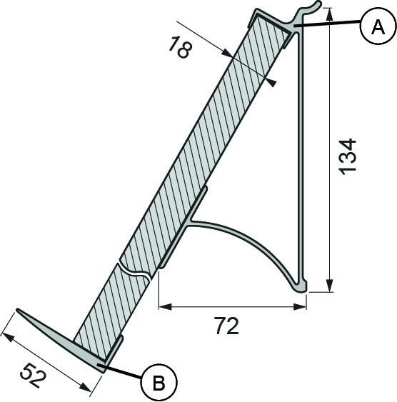 Wall System - unteres Abschlußprofil (B) zu Buchstütze