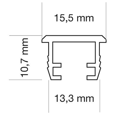 LED Nutprofil 15,5 x 9,5mm, Länge 2000mm