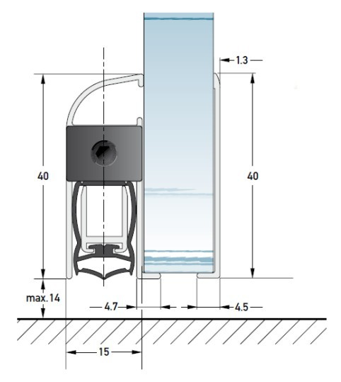 DRS 1540 G Glastüren, automatische Bodentürdichtung