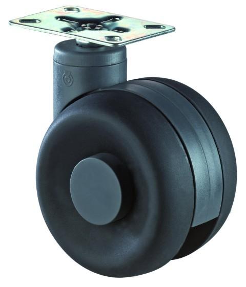 Design - Doppel - Lenkrollen mit Anschraubplatte