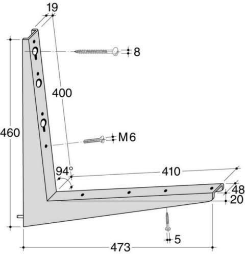 HEBGO Sitzbank-Konsole BF 410 Stahl verzinkt Belastung 250kg