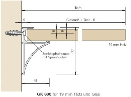 Konsolen Alumnium GK 600 für 19mm Böden